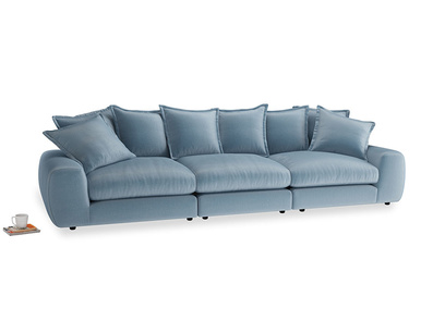Large Wodge Modular Sofa in Chalky blue vintage velvet