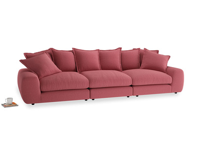 Large Wodge Modular Sofa in Raspberry brushed cotton