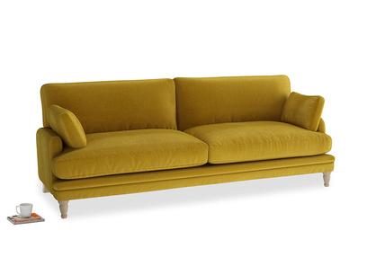 Large Squisharoo Sofa in Burnt yellow vintage velvet