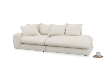 Left Hand Wodge Modular Chaise Longue in Chalky White Clever Softie