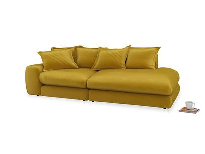 Left Hand Wodge Modular Chaise Longue in Burnt yellow vintage velvet