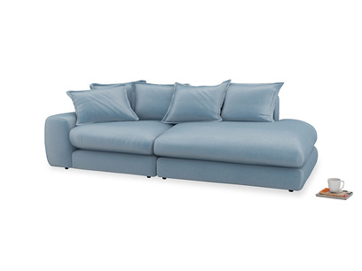 Left Hand Wodge Modular Chaise Longue in Chalky blue vintage velvet