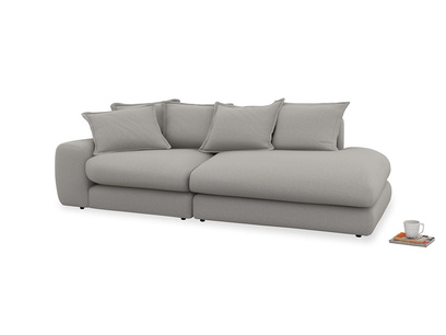 Left Hand Wodge Modular Chaise Longue in Wolf brushed cotton
