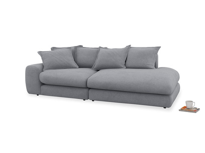 Left Hand Wodge Modular Chaise Longue in Dove grey wool