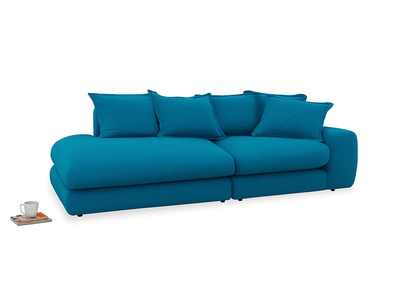 Right Hand Wodge Modular Chaise Longue in Bermuda Brushed Cotton
