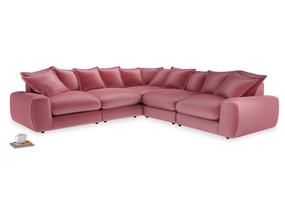 Even Sided Wodge Modular Corner Sofa in Blushed pink vintage velvet
