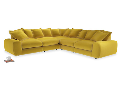 Even Sided Wodge Modular Corner Sofa in Bumblebee clever velvet