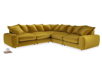 Even Sided Wodge Modular Corner Sofa in Burnt yellow vintage velvet