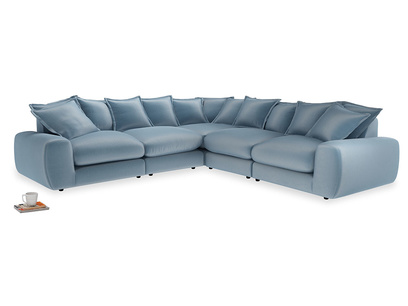 Even Sided Wodge Modular Corner Sofa in Chalky blue vintage velvet