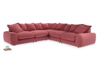 Even Sided Wodge Modular Corner Sofa in Raspberry brushed cotton