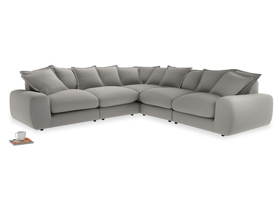 Even Sided Wodge Modular Corner Sofa in Wolf brushed cotton