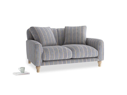 Small Bear Hug Sofa in Brittany Blue french stripe