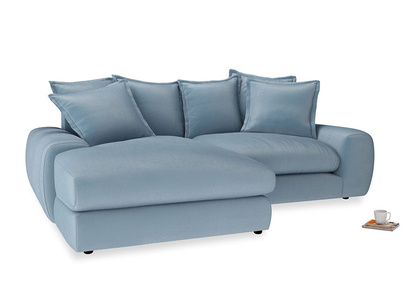 Medium Left Hand Wodge Modular Chaise Sofa in Chalky blue vintage velvet