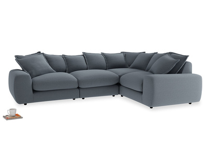 Large right hand Wodge Modular Corner Sofa in Blue Storm washed cotton linen