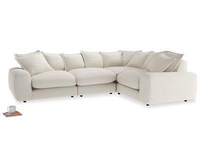 Large right hand Wodge Modular Corner Sofa in Chalky White Clever Softie