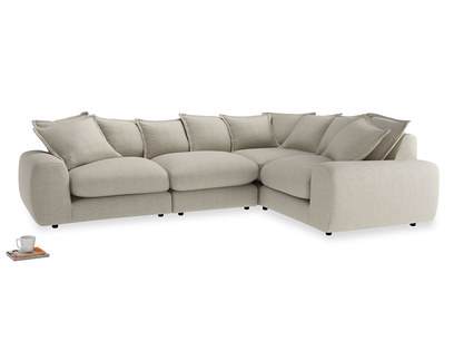 Large right hand Wodge Modular Corner Sofa in Thatch house fabric