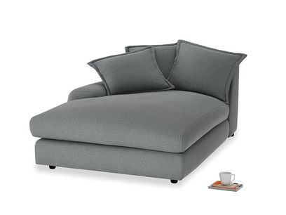 Wodge Single Chaise Seat in Cornish Grey Bamboo Softie with a left arm
