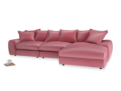 Large right hand  Wodge Modular Chaise Sofa in Blushed pink vintage velvet