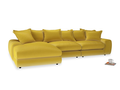Large left hand Wodge Modular Chaise Sofa in Bumblebee clever velvet