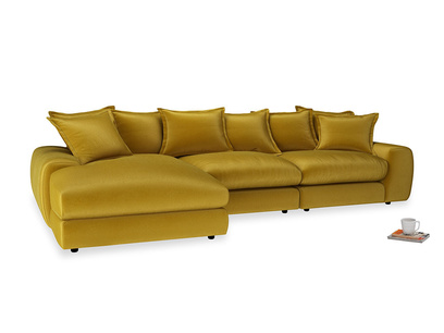 Large left hand Wodge Modular Chaise Sofa in Burnt yellow vintage velvet