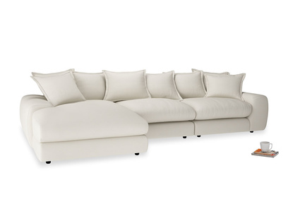 Large left hand Wodge Modular Chaise Sofa in Chalky White Clever Softie