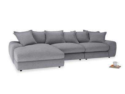 Large left hand Wodge Modular Chaise Sofa in Dove grey wool