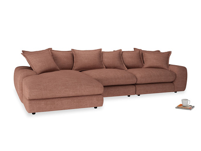 Large left hand Wodge Modular Chaise Sofa in Dried Rose Clever Laundered Linen