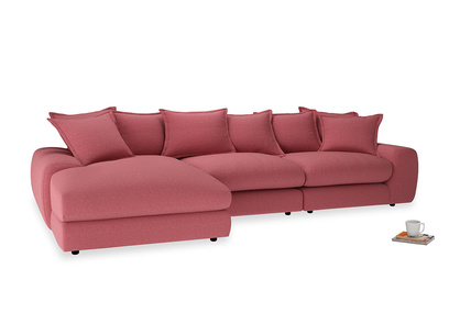 Large left hand Wodge Modular Chaise Sofa in Raspberry brushed cotton