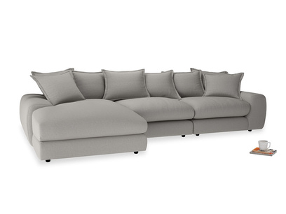 Large left hand Wodge Modular Chaise Sofa in Wolf brushed cotton