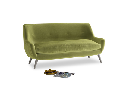 Medium Berlin Sofa in Light Olive Plush Velvet