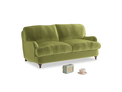 Small Jonesy Sofa in Light Olive Plush Velvet
