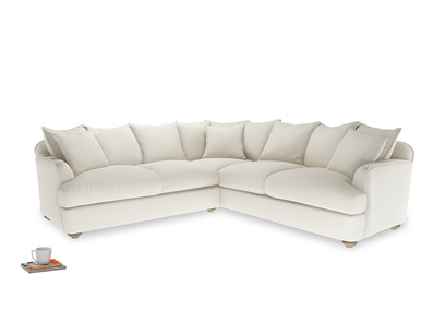 XL Right Hand Smooch Corner Sofa Bed in Chalky White Clever Softie