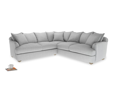 XL Right Hand Smooch Corner Sofa Bed in Cobble house fabric