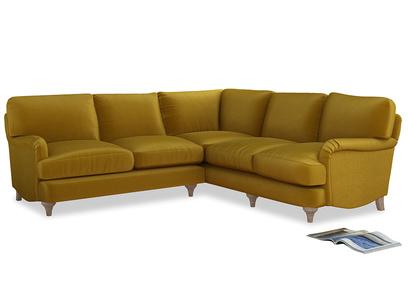 XL Right Hand Jonesy Corner Sofa Bed in Burnt yellow vintage velvet