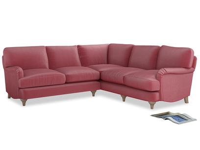 XL Left Hand Jonesy Corner Sofa Bed in Blushed pink vintage velvet