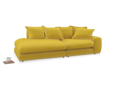 Left Hand Wodge Modular Chaise Longue in Bumblebee clever velvet