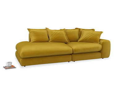 Left Hand Wodge Modular Chaise Longue in Burnt yellow vintage velvet
