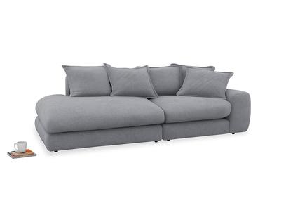 Left Hand Wodge Modular Chaise Longue in Dove grey wool