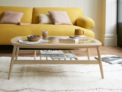 Wood Turner glass top coffee table
