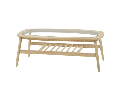 Wood Turner oak and glass coffee table