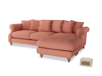 XL Right Hand  Sloucher Chaise Sofa in Tawny Pink Brushed Cotton