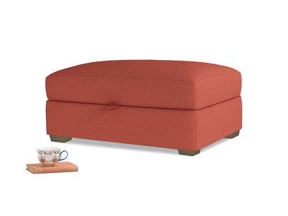 Bumper Storage Footstool in Burnt Sienna Brushed Cotton