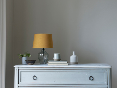 Mini Flute Table Lamp with a Burnt Ochre vintage linen shade