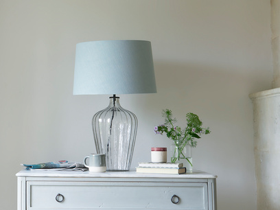 Large Flute table lamp with a Duck Egg vintage linen shade