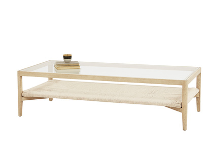 Keepsake glass and wood coffee table