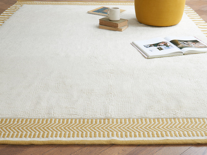 Loom handmade woven rug in Burnt Yellow