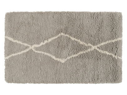 Casbah woven fluffy bedside rug in Ash Grey