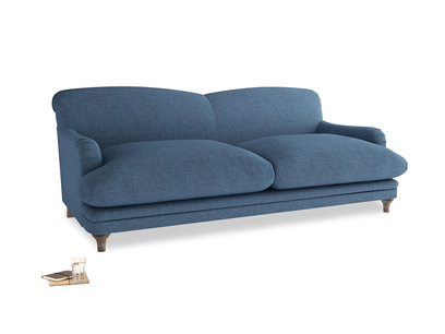 Large Pudding Sofa in Inky Blue Vintage Linen