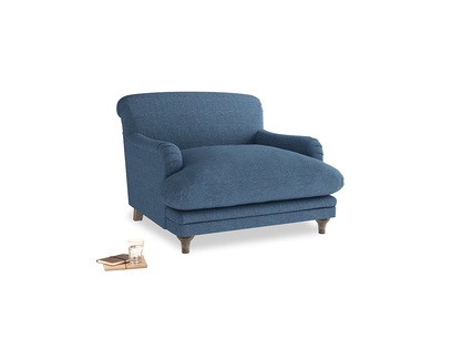 Pudding Love seat in Inky Blue Vintage Linen