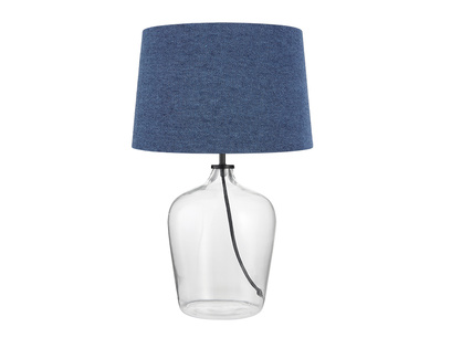 Medium Flagon Table Lamp with a Inky Blue Vintage Linen Shade